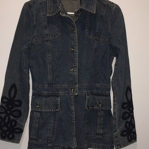 DKNY Jeans Denim jacket with embroidered sleeves